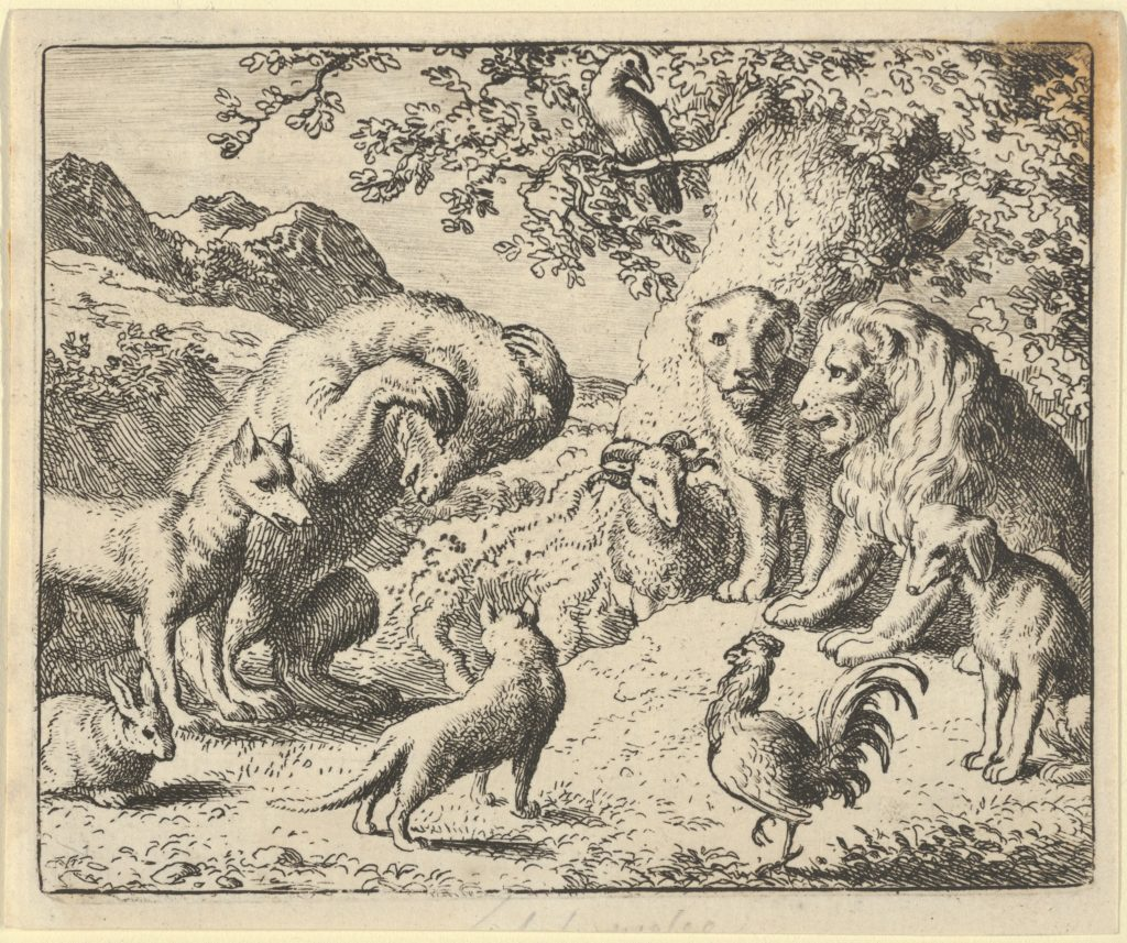 The Bear Seeks Justice from the Lion Against Renard from Hendrick van Alcmar's Renard The Fox