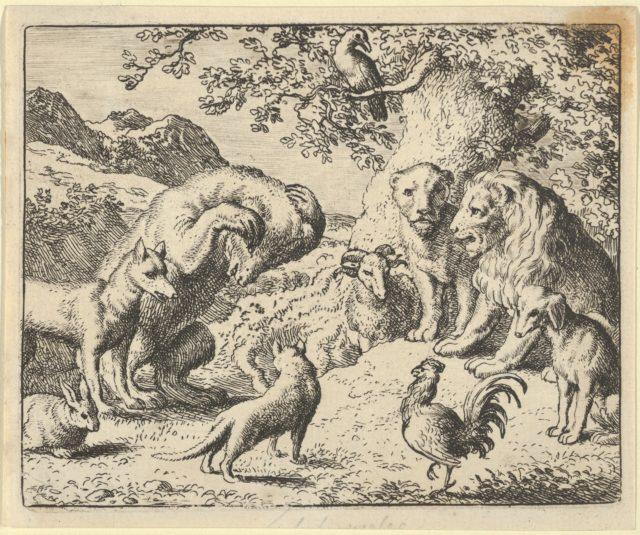The Bear Seeks Justice from the Lion Against Renard from Hendrick van Alcmar's Renard The Fox