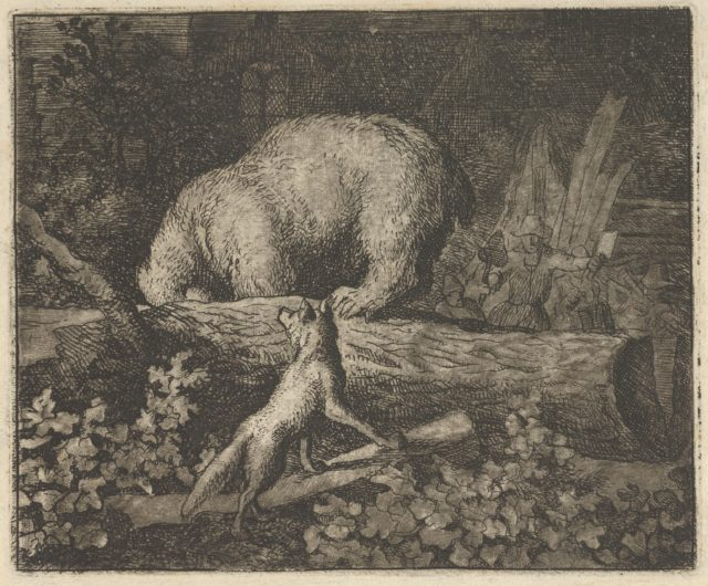 The Bear's Snout and Paws Are Caught in the Trunk of a Tree from Hendrick van Alcmar's Renard The Fox
