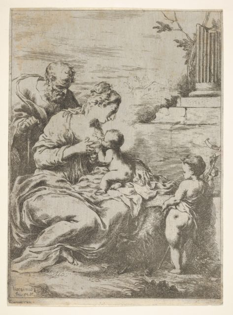 The Holy Family with the infant St John the Baptist at right