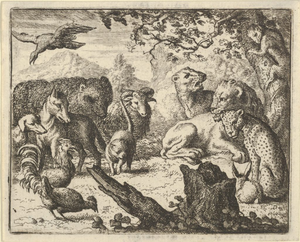 The Lion Announces a Durable Peace to the Animals who Surround Him from Hendrick van Alcmar's Renard The Fox