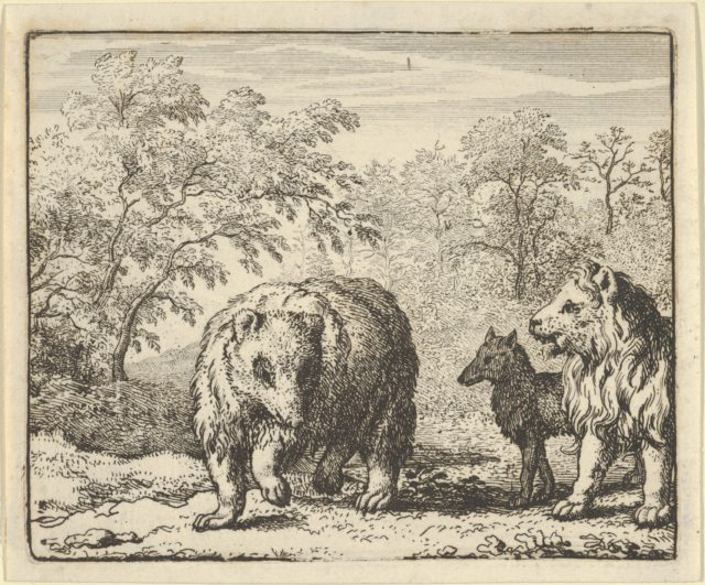The Lion Frees the Bear and the Wolf from Hendrick van Alcmar's Renard The Fox