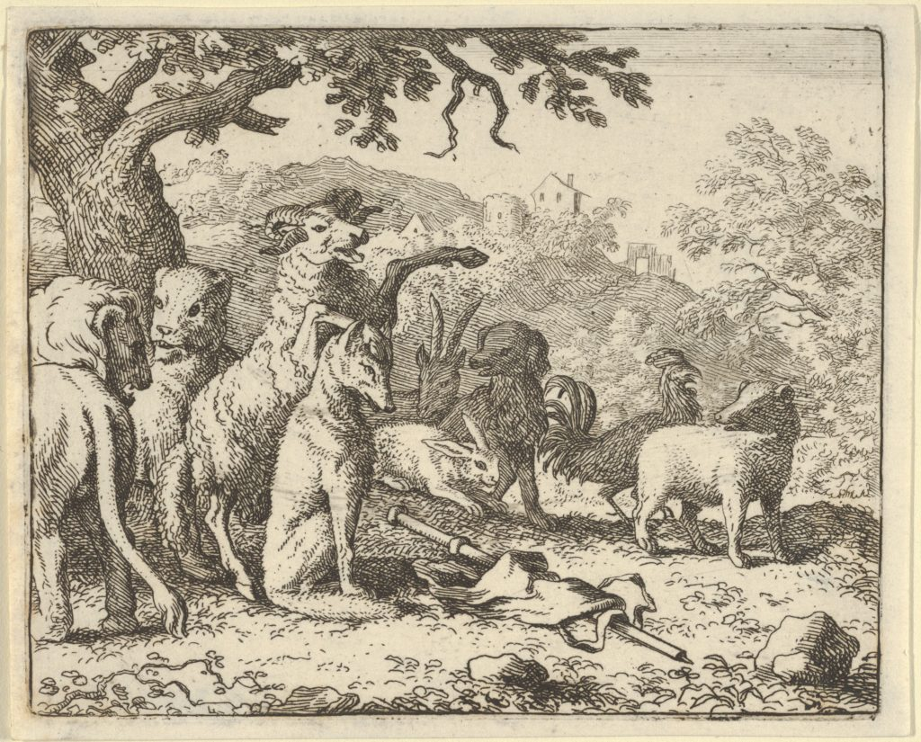 The Ram, Chapelain of the Lion, Gives the Benediction to Renard before His Depature for Rome from Hendrick van Alcmar's Renard The Fox