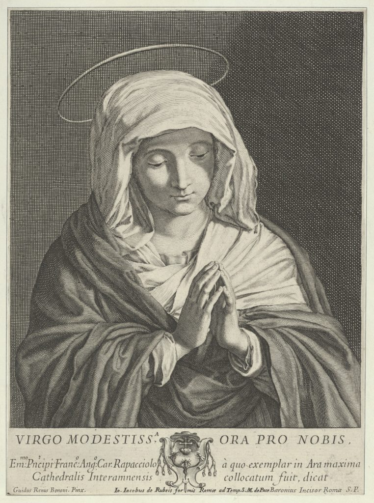 The Virgin in prayer looking down, after Reni