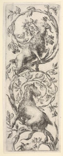 Three goats climbing a vine in the shape of a backwards 'S', from 'Ornaments or Grotesques' (Ornamenti o Grottesche)
