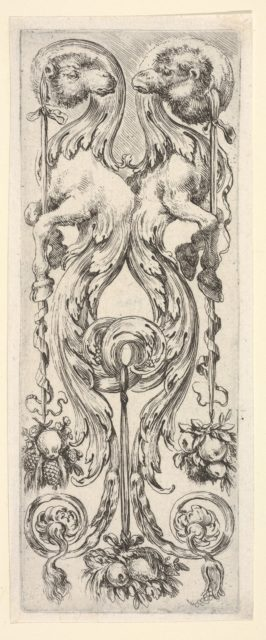 Two camels, their bodies turning into decorative leaves and scrollwork, from 'Ornaments or Grotesques' (Ornamenti o Grottesche)