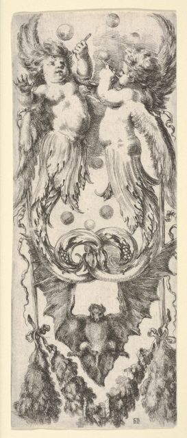 Two putti above, their legs ending in scrollwork, a bat below,  from 'Ornaments or Grotesques' (Ornamenti o Grottesche)