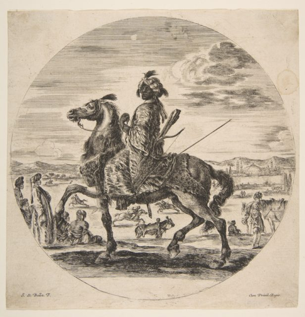 A Moorish horseman facing the left, standing and seated Turks in the middle ground, and other horsemen in the background, from 'Figures on Horseback' (Cavaliers nègres, polonais et hongrois)
