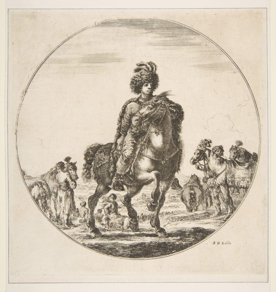 Polish horseman facing right, a circular composition, from 'Figures on Horseback' (Cavaliers nègres, polonais et hongrois)