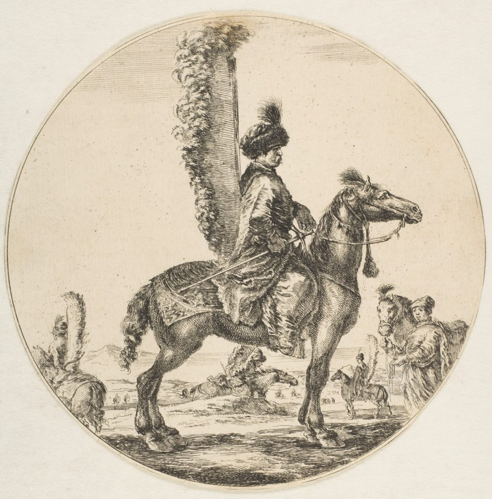 Polish hussar in profile facing right with wings attached to his back, a circular composition, from 'Figures on Horseback' (Cavaliers nègres, polonais et hongrois)
