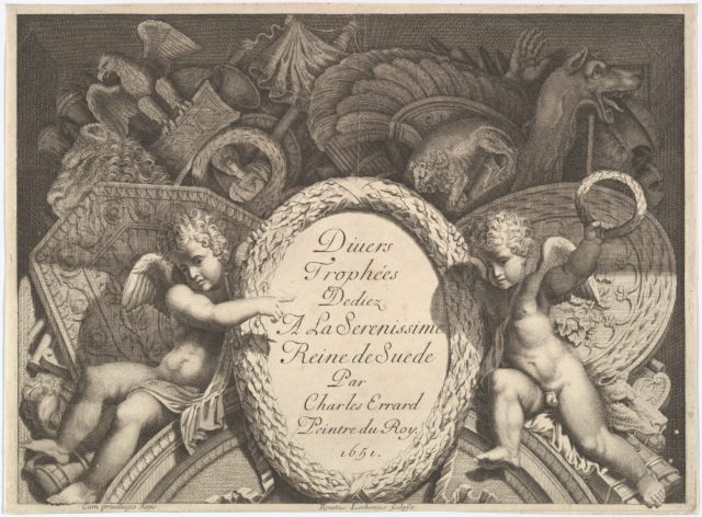 Title page of Divers Trophées (Weapon Trophies after the Façade of Palazzo Milesi in Rome)