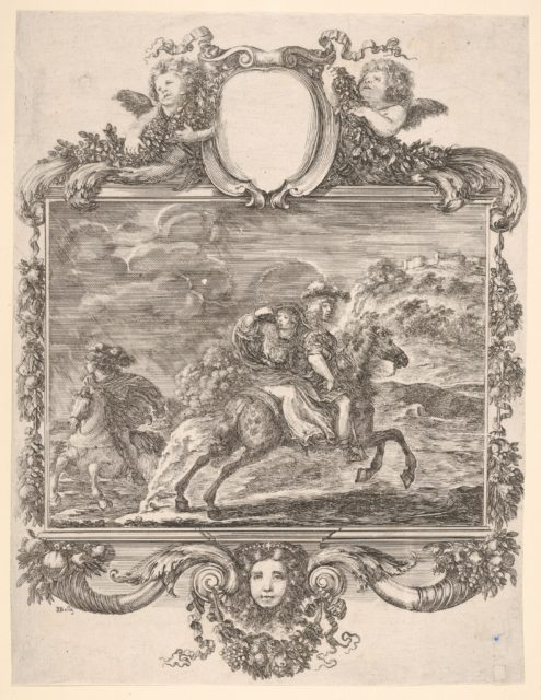 A horseman and a lady riding side saddle, galloping towards the right, another horseman follows, in an elaborate frame decorated with a mask of a young woman, cherubs, and fruit