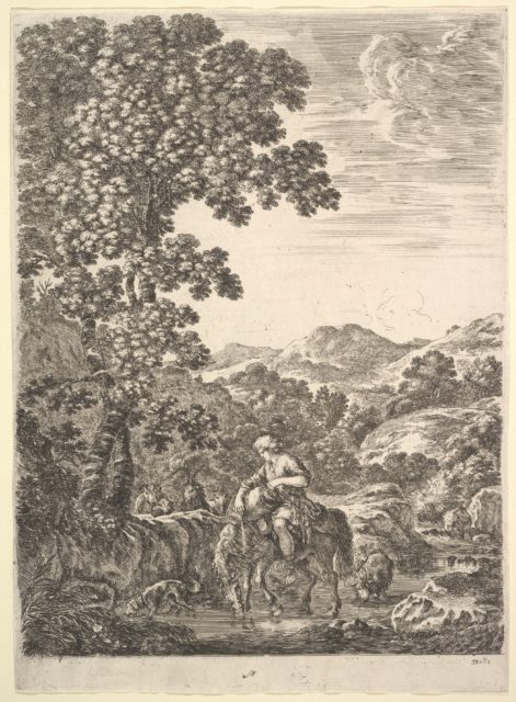 A shepherd on horseback in the middle of a stream, facing left, dogs, goats and cows follow to left and right, a large tree to left and mountains to right in the background, from 'Four large landscapes' (Quatre grands paysages en hauteur)