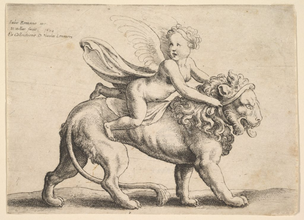 Cupid on a lion