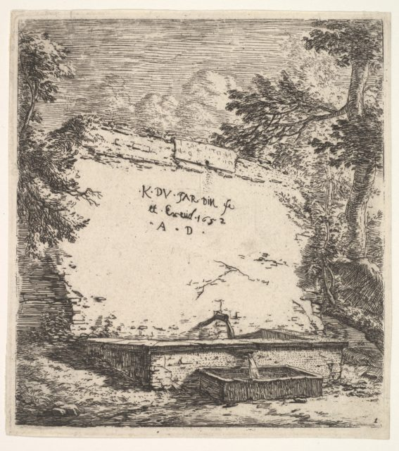 Frontispiece with stepped fountain; a stone wall with water spout pouring water into a rectilinear basin, from which a second spout pours water into a smaller rectilinear basin, flanked by tree branches