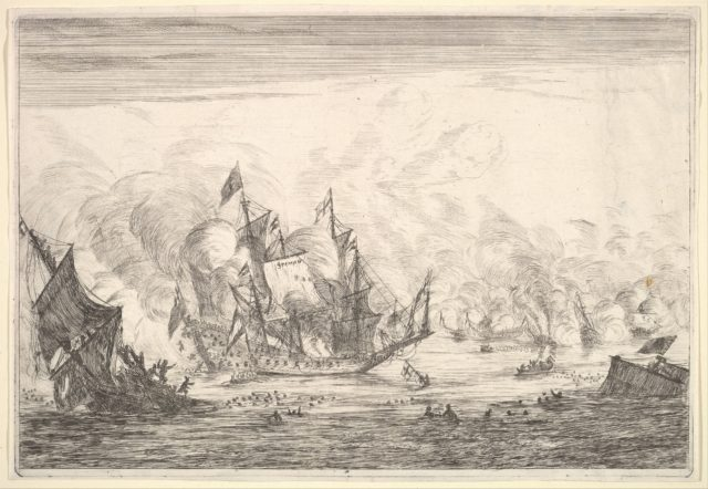 Naval Battle with an English Ship Foundering on the Left, from Naval Battles (Nieuwe Scheeps Batalien),  plate 5
