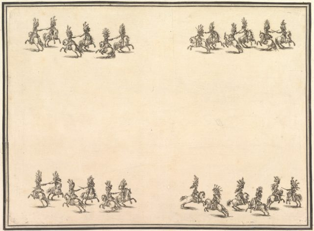 Twenty-four riders dueling with swords in four groups, with two groups in lines at the top and bottom of the page, from 'La gara delle Stagioni'