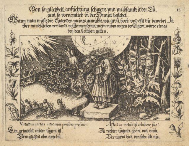 Von sorglichkeit ansächtung, schwere und mühsamkeit der Tugent, so vornemlich in der Demut betehet, illustration from Petrarch, Glück und Unglück Spiegel, figure 12