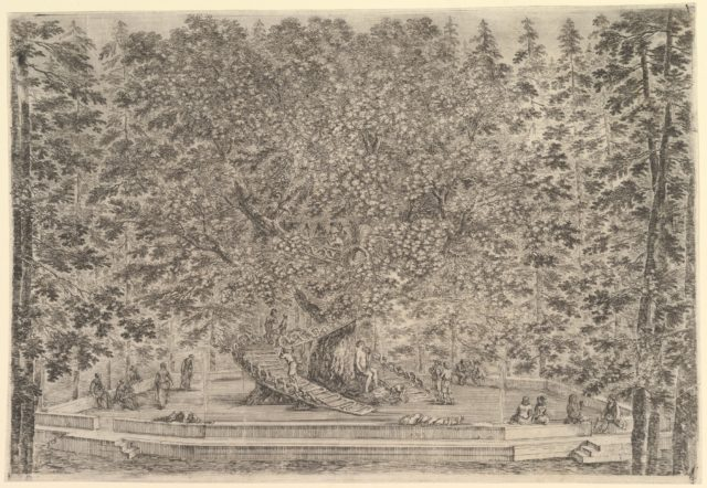 A large inhabited tree in center with ramps leading around the trunk, below a stone parapet on which people are resting or sitting, tall trees surrounding, from 'Views of the villa at Pratolino' (Vues de la villa de Pratolino)