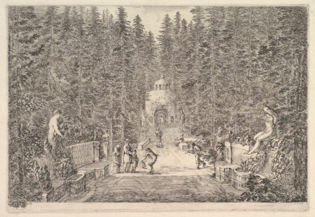 An avenue lined with statues in a pine forest, jets of water issuing from the ground, various figures in center, a small building in background center, from 'Views of the villa at Pratolino' (Vues de la villa de Pratolino)