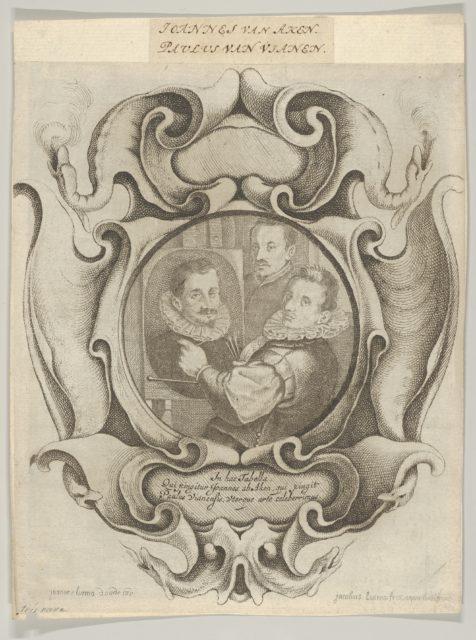 Auricular Cartouche with the Painter Hans von Aachen, the Goldsmith Paulus van Vianen, and the Sculptor Adriaen de Vries