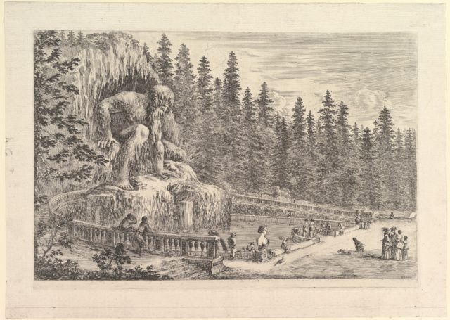 Colossal statue of the Appenino by Giambologna to left, represented as a giant crouching at the entrance of a grotto, ramps to either side, a pond below, various figures, dogs, and birds to right, from 'Views of the villa at Pratolino' (Vues de la villa de Pratolino)