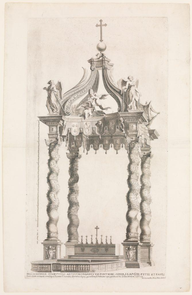 Isolated View of Bernini's Baldacchino. Plate 39 from the Album 'Basilica di S. Pietro in Vaticano'