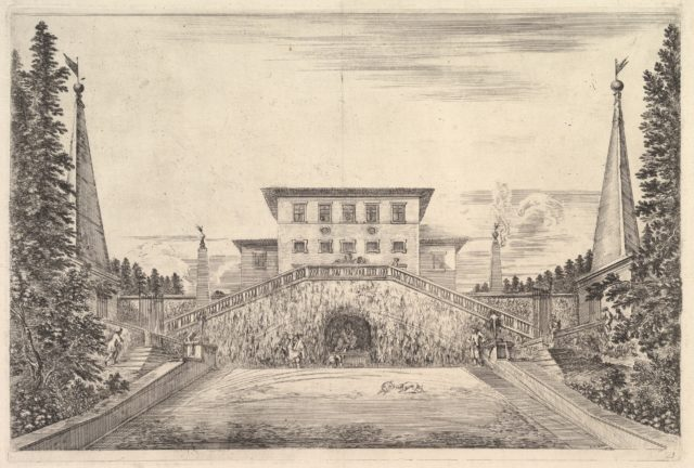 The villa at center flanked by four obelisks, a staircase to either side, a statue in a niche in center of staircases, various figures and dogs below, from 'Views of the villa at Pratolino' (Vues de la villa de Pratolino)