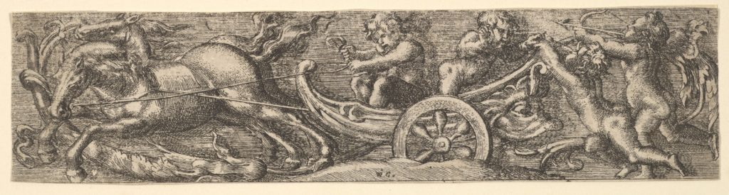 A scallop shell chariot