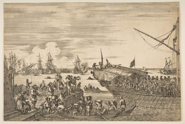 Departure of a galley at the Port of Livorno, from from 'Views of the port of Livorno' (Vues du port de Livourne)