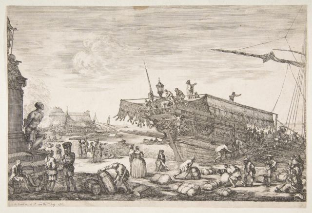 Loading a galley, from 'Views of the port of Livorno' (Vues du port de Livourne)