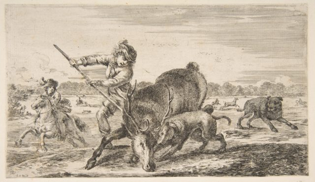 Stag at bay, from 'Animal hunts' (Chasses à différents animaux)