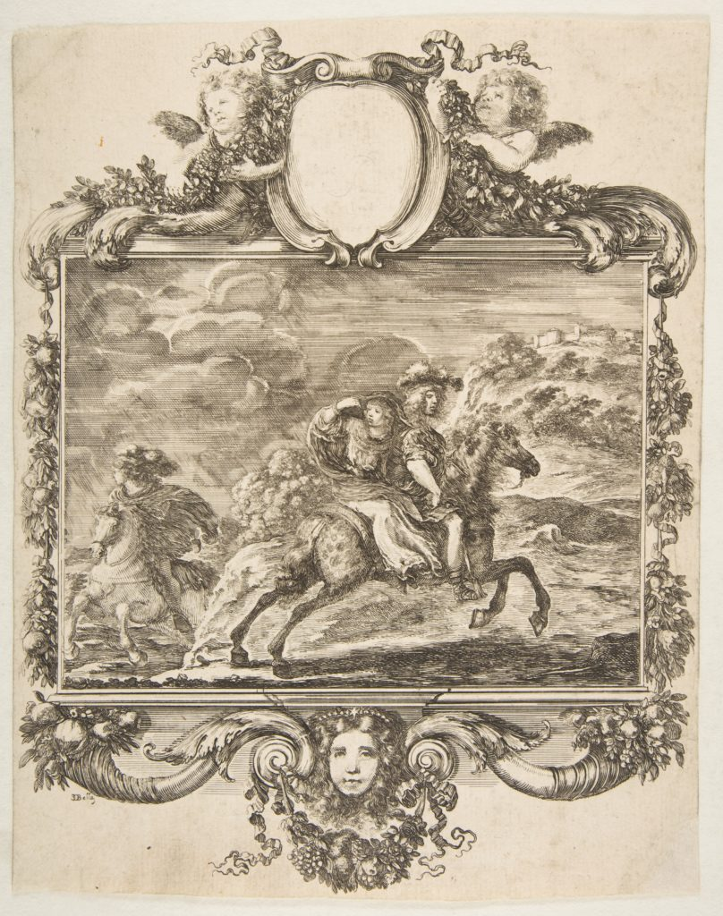 A cavalier and a lady on horseback, within an ornate border decorated with fruit and cornucopias