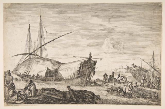 A galley covered in sails to left, six cannons and four people to left in foreground, one man seated at far left smoking a pipe, a man assisting others disembarking from rowboats to right, other rowboats and ships in the background, from 'Views of the port of Livorno' (Vues du port de Livourne)