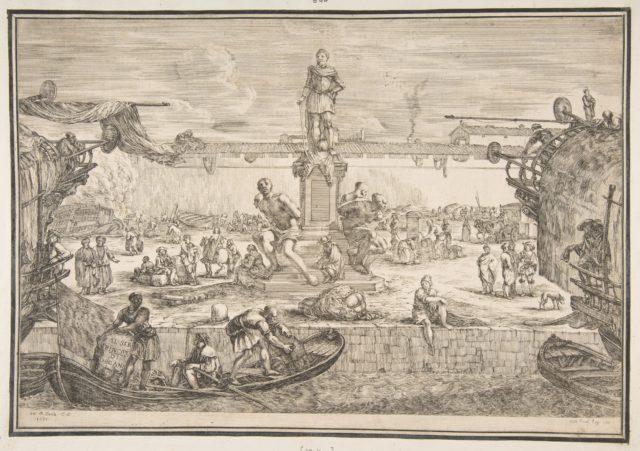 Port of Livorno with Statue of Ferdinand I, from 'Views of the port of Livorno' (Vues du port de Livourne)