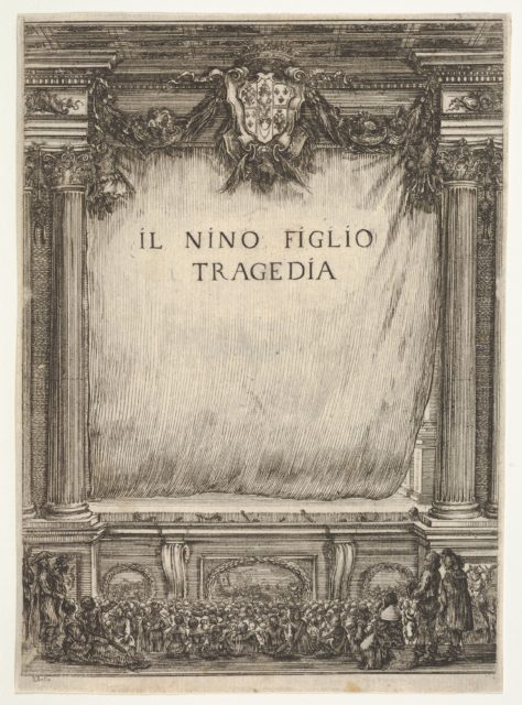 Title page for 'The Child Nino' (Il Nino Figlio), a stage with the curtain drawn, the coat of arms of the duke of Modena at top center, spectators below