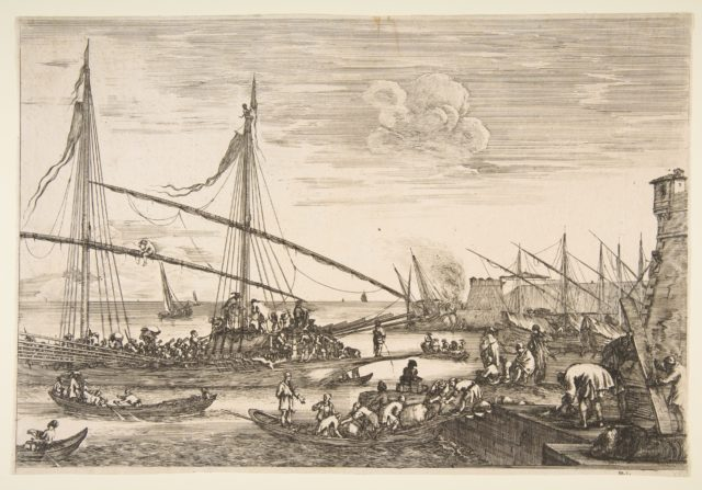 View of the fortifications, two men lifting a plank at right, several ships and boats the background and a galley at left, from 'Views of the port of Livorno' (Vues du port de Livourne)