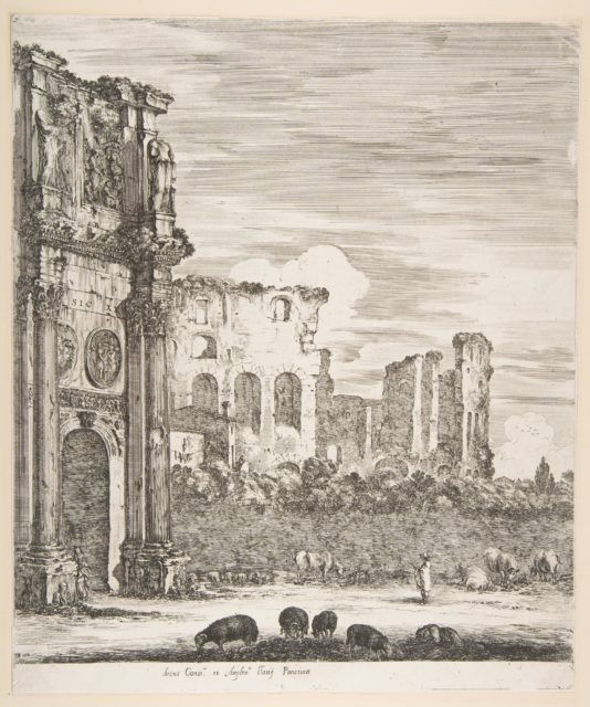 Arch of Constantine and Colosseum with sheep grazing in foreground, from 'Six large views, four of Rome, and two of the Roman countryside' (Six grandes vues, dont quatre de Rome et deux de la Campagne romaine)