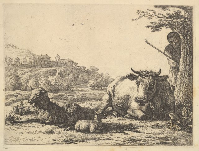 Cow, adult sheep, and young sheep lying in the grass; beyond, a shepherd stands partially behind a tree