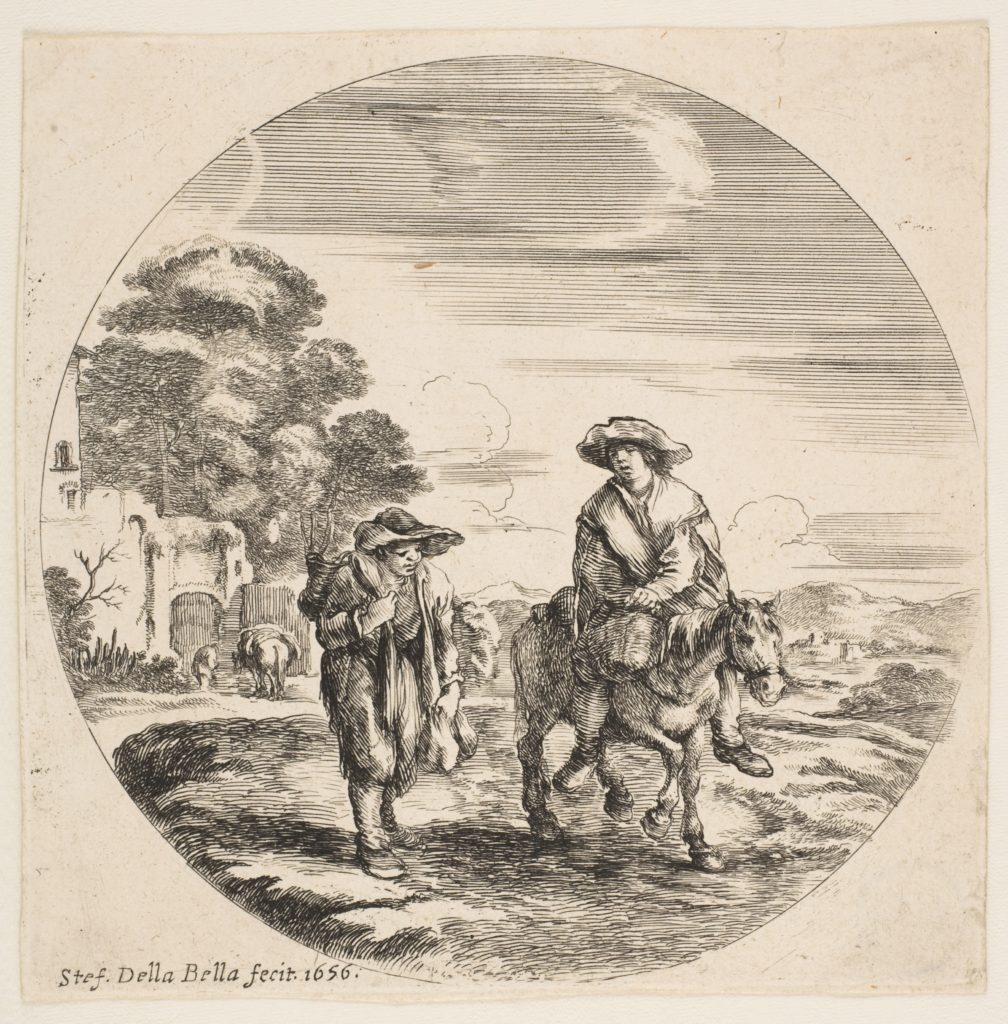 Landscape with Two Peasants, One Riding a Horse, from 'Landscapes and seaports' (Paysages et ports de mer, dans des ronds)