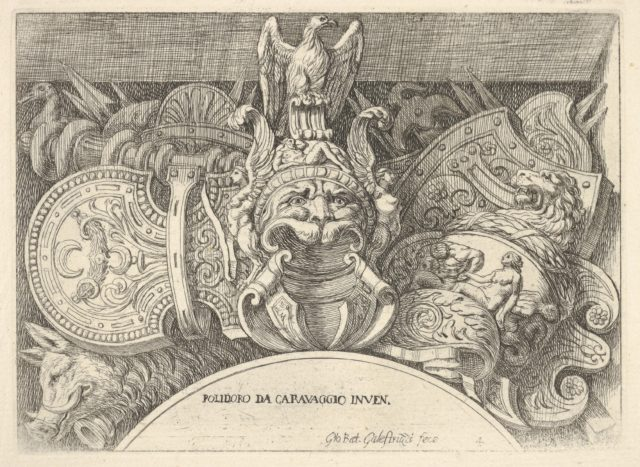 Plate 4: trophies of Roman arms from decorations above the windows on the second floor of the Palazzo Milesi in Rome