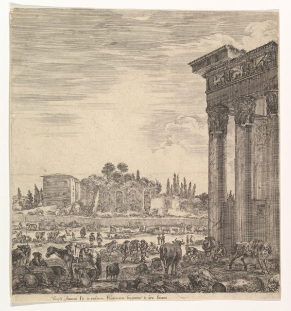 The columns of the Temple of Antoninus to right, a part of the Campo Vaccino in center and at left, along with various animals and figures, the Palatine ruins in the background, from 'Six large views, four of Rome, and two of the Roman countryside' (Six grandes vues, dont quatre de Rome et deux de la Campagne romaine)