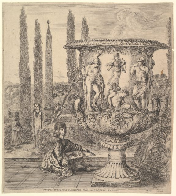 The Medici vase, a large vase to right decorated with a representation of the sacrifice of Iphigenia, on a garden terrace, a teenage boy seated to left with a pen and paper with a drawing of the vase, cyprus trees and an obelisk to left in the background, from 'Six large views, four of Rome, and two of the Roman countryside' (Six grandes vues, dont quatre de Rome et deux de la Campagne romaine)