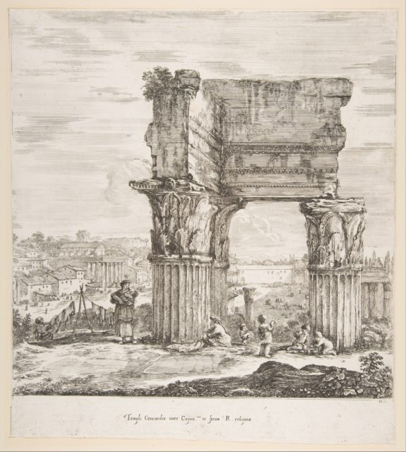 The Temple of Vespasian and the Roman Forum, from 'Six large views, four of Rome, and two of the Roman countryside' (Six grandes vues, dont quatre de Rome et deux de la Campagne romaine)