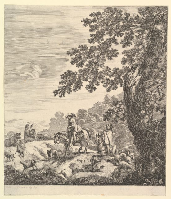 Two horsemen pass a flock, riding towards the left, a peasant woman and a young boy to left in the middleground, a large tree to right, from 'Six large views, four of Rome and two of the Roman countryside' (Six grandes vues, dont quatre de Rome et deux de la Campagne romaine)