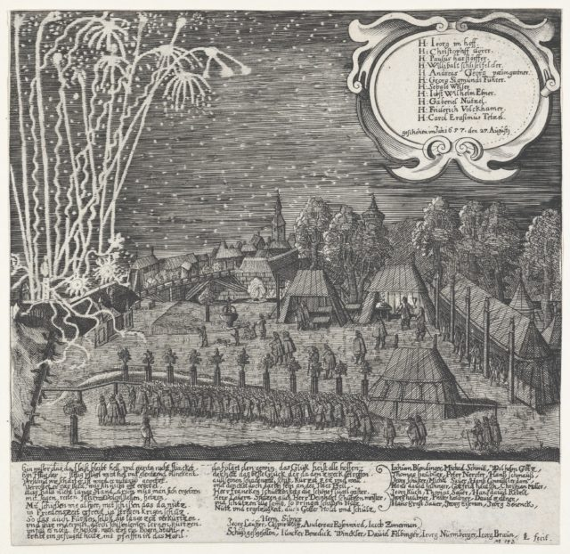 Fireworks display given by the Archery Company of Nuremberg, August 27, 1657