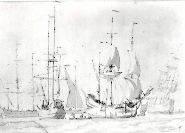 Dutch Merchant Ships at Anchor or under Easy Sail in a Moderate Breeze