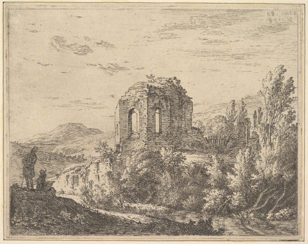 View of ruins showing the corner of a building with two arched windows, in a landscape with a stream in the foreground, from a series of four plates showing ruins of a single building