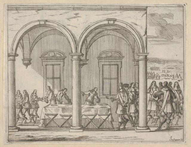 Francesco I d'Este Sustains Himself While on His War Campaign, from L'Idea di un Principe ed Eroe Cristiano in Francesco I d'Este, di Modena e Reggio Duca VIII [...]