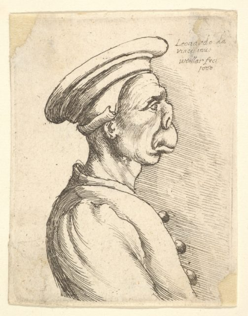 Bust of a man with a flat nose and protruding mouth, wearing flat cap and buttoned coat in profile to right